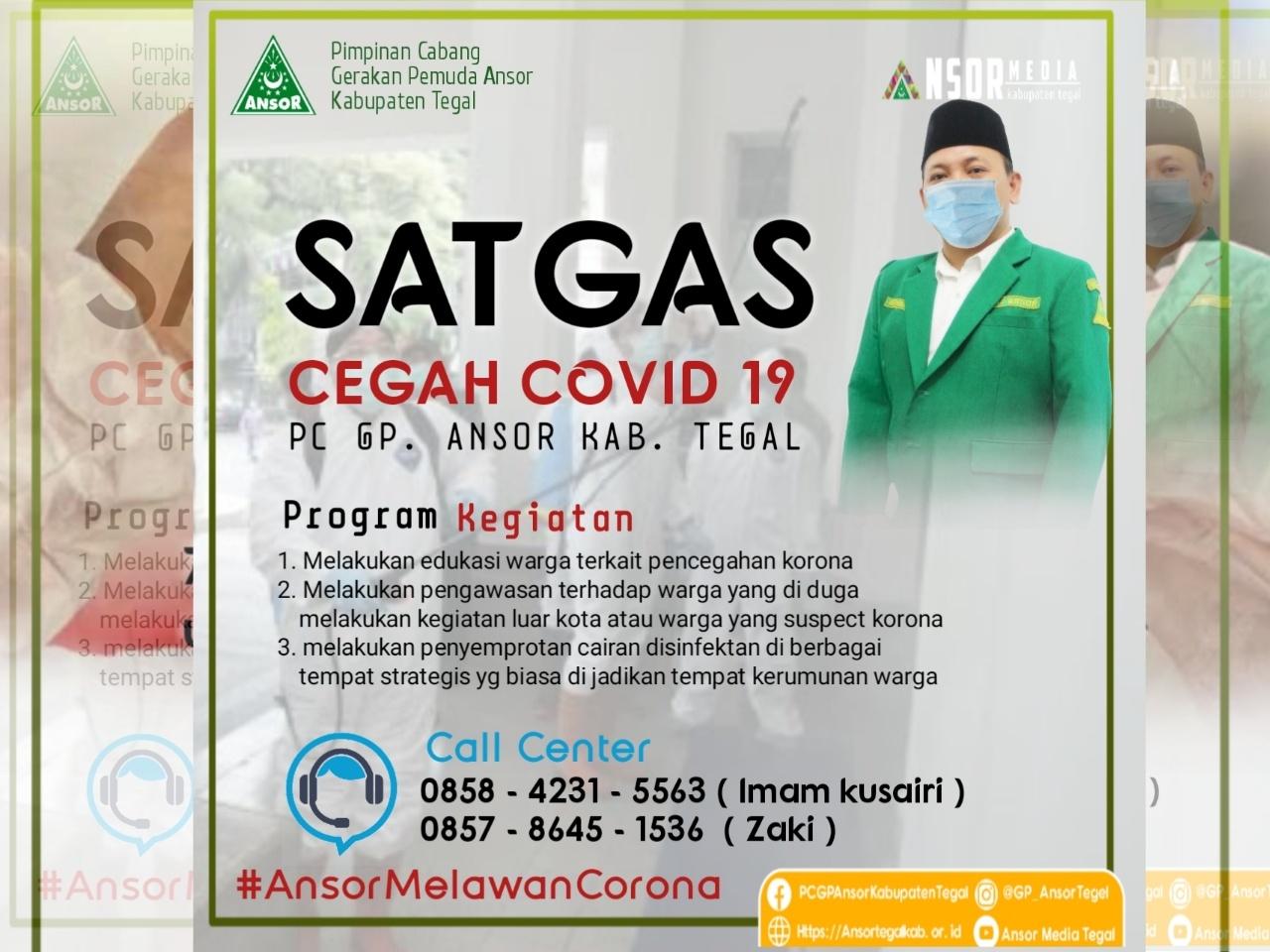 Bantu Pemerintah, GP Ansor Tegal Bentuk Satgas Pencegahan Covid-19, GP Ansor