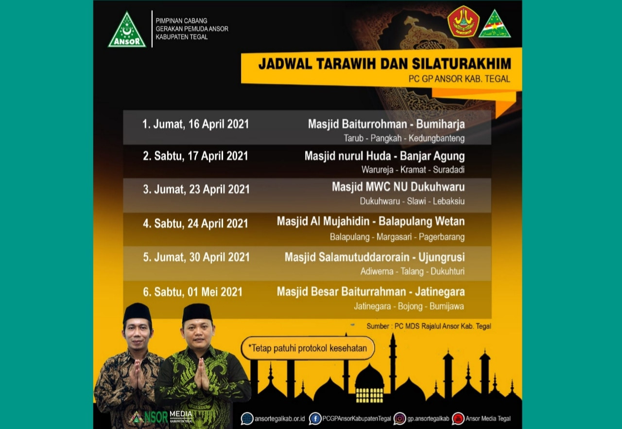 Ini Jadwal Tarhim Ramadhan 1442 H PC GP Ansor Kab. Tegal, GP Ansor