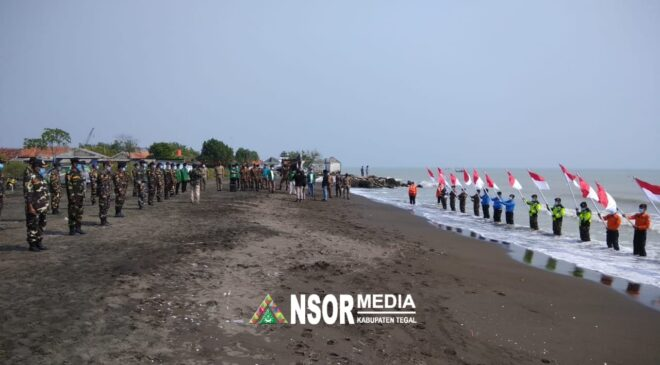 HUT RI ke 76, Ansor Banser Tegal Kibarkan 17 Bendera Merah Putih di Pesisir Pantai Pantura, GP Ansor