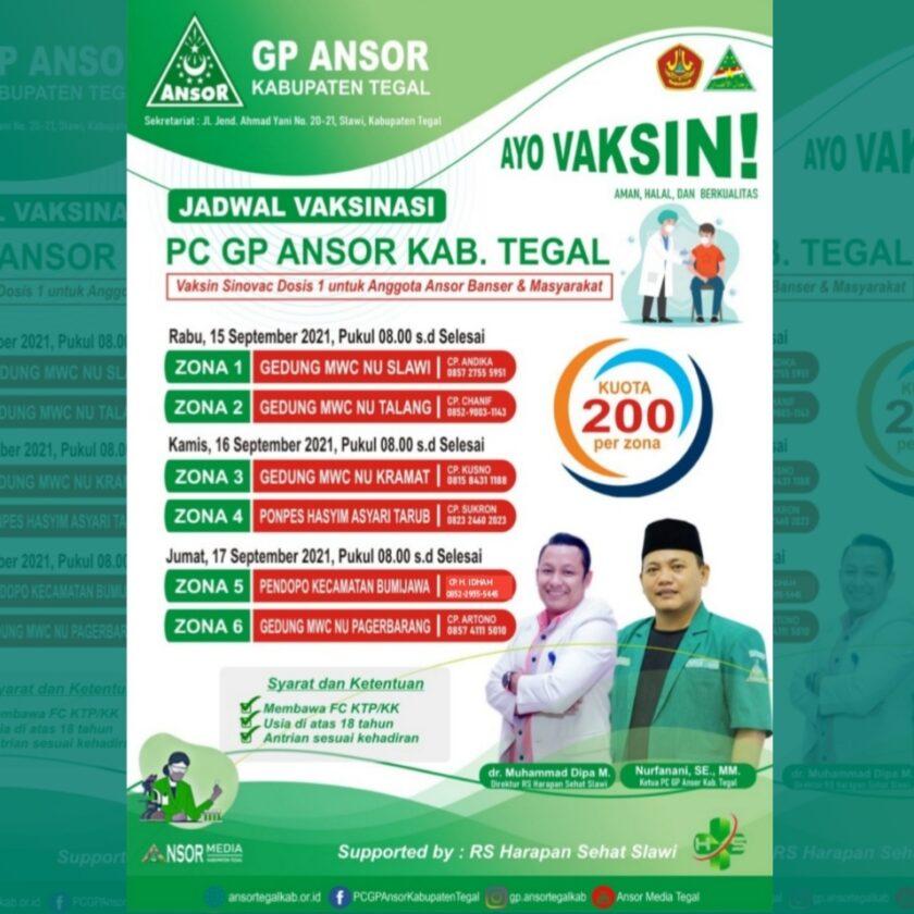 Dukung Pemerintah, Ansor Tegal Gandeng RS Harapan Sehat Sediakan 1200 Dosis Vaksin untuk Masyarakat, GP Ansor